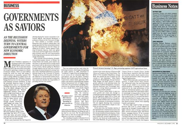 Article Preview: GOVERNMENTS AS SAVIORS, December 1992 | Maclean's
