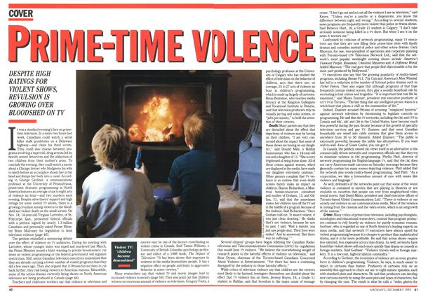 Article Preview: PRIMETIME VIOLENCE, December 1992 | Maclean's