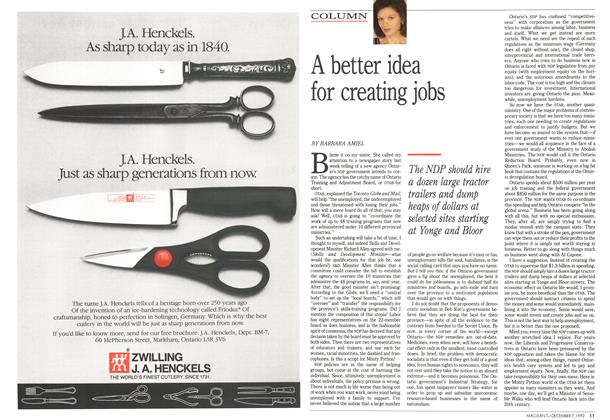 Article Preview: A better idea for creating jobs, December 1992 | Maclean's