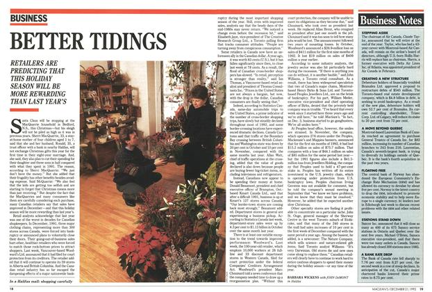 Article Preview: BETTER TIDINGS, December 1992 | Maclean's