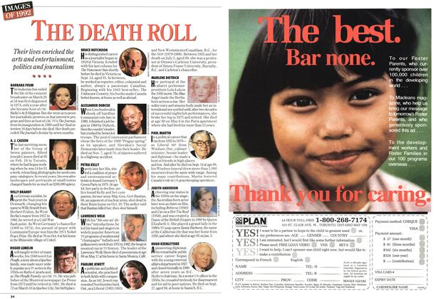 Article Preview: THE DEATH ROLL, December 1992 | Maclean's