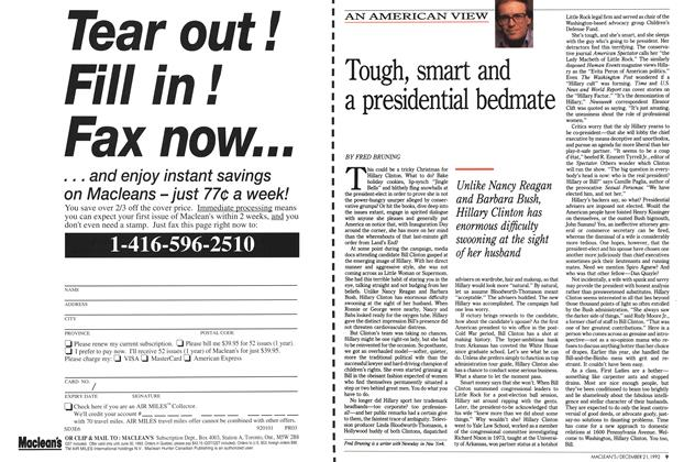 Article Preview: Tough, smart and a presidential bedmate, December 1992 | Maclean's