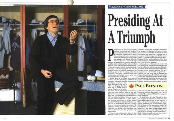 Article Preview: Presiding At A Triumph, December 1992 | Maclean's