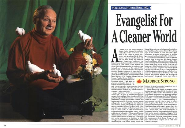 Article Preview: Evangelist For A Cleaner World, December 1992 | Maclean's