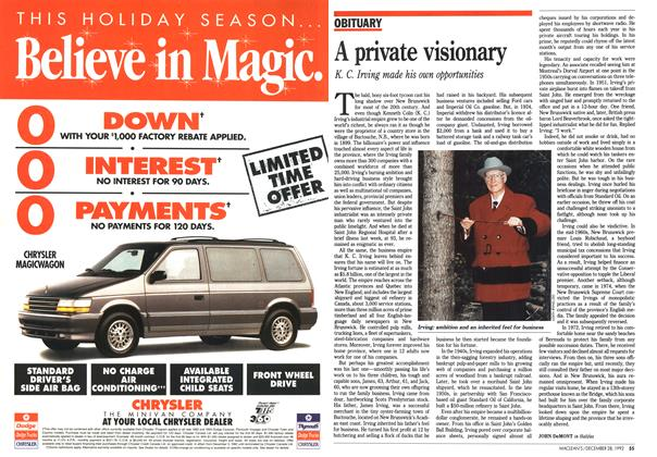 Article Preview: A private visionary, December 1992 | Maclean's