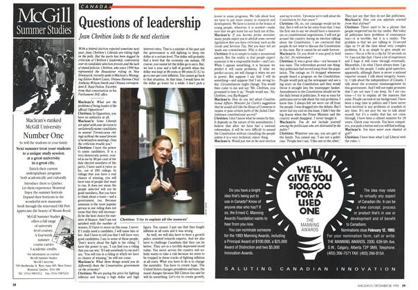 Article Preview: Questions of leadership, December 1992 | Maclean's