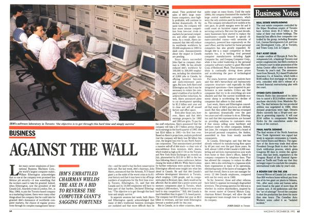 Article Preview: AGAINST THE WALL, December 1992 | Maclean's