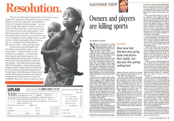 Article Preview: Owners and players are killing sports, December 1992 | Maclean's