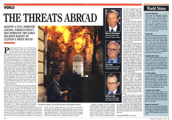 Article Preview: THE THREATS ABROAD, January 1993 | Maclean's