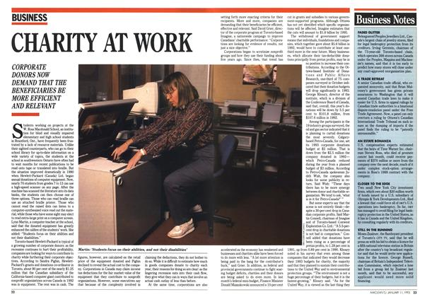 Article Preview: CHARITY AT WORK, January 1993 | Maclean's