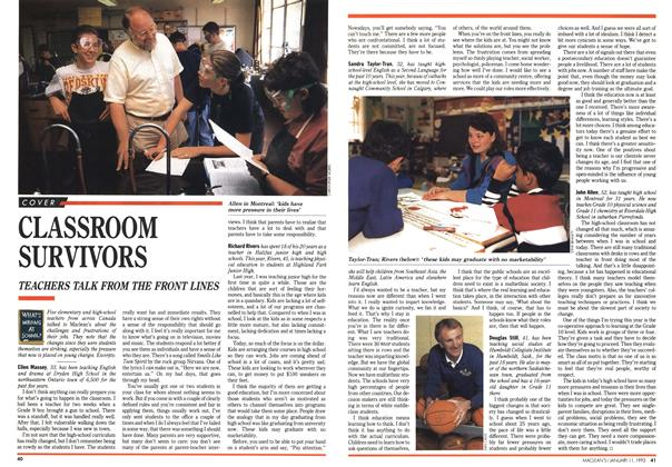 Article Preview: CLASSROOM SURVIVORS, January 1993 | Maclean's