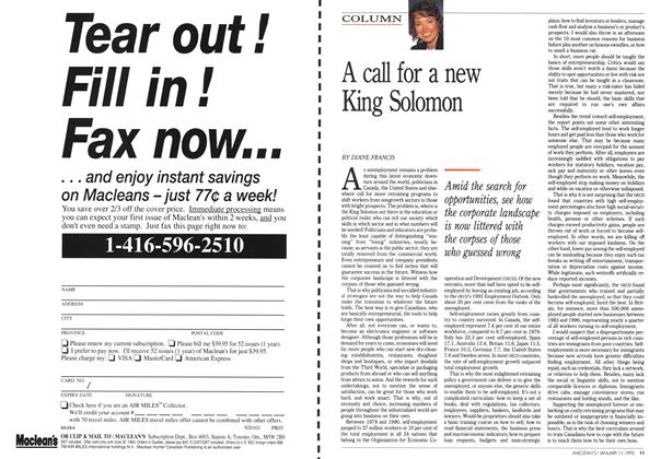 Article Preview: A call for a new King Solomon, January 1993 | Maclean's