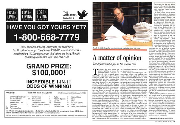 Article Preview: A matter of opinion, January 1993 | Maclean's