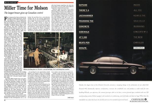 Article Preview: Miller Time for Molson, January 1993 | Maclean's