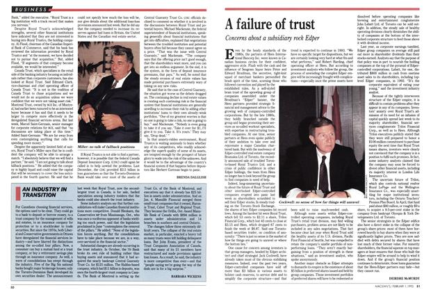 Article Preview: AN INDUSTRY IN TRANSITION, February 1993 | Maclean's