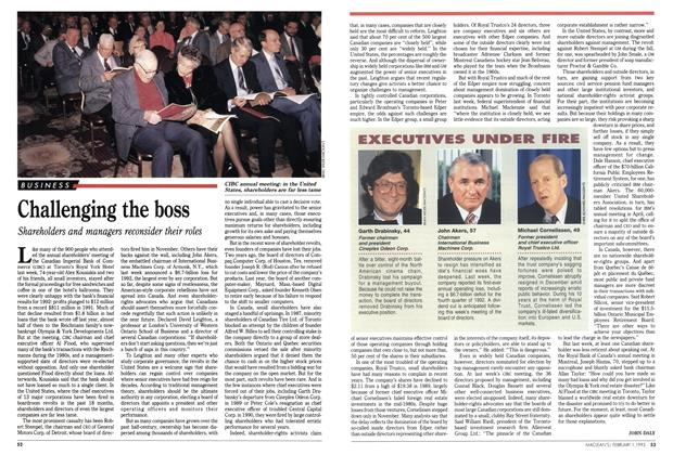 Article Preview: Challenging the boss, February 1993 | Maclean's