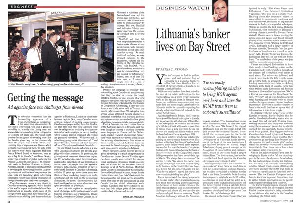Article Preview: Lithuania's banker lives on Bay Street, February 1993 | Maclean's
