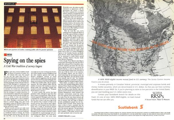 Article Preview: Spying on the spies, February 1993 | Maclean's