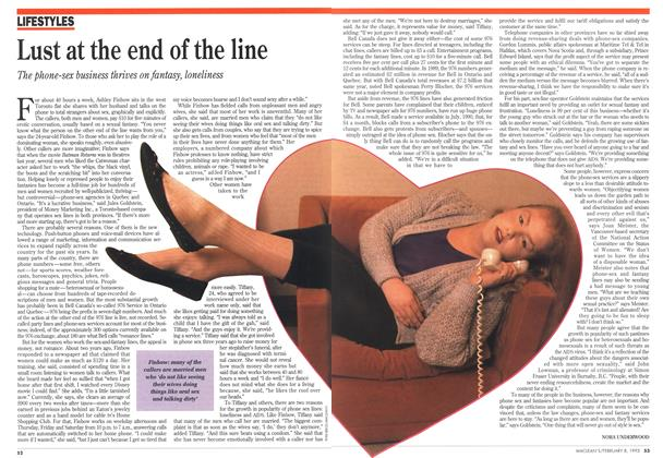 Article Preview: Lust at the end of the line, February 1993 | Maclean's