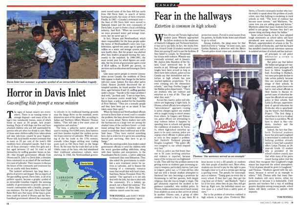 Article Preview: Fear in the hallways, February 1993 | Maclean's