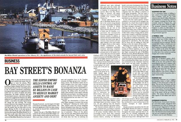 Article Preview: BAY STREET'S BONANZA, FEBRUARY  1993 | Maclean's