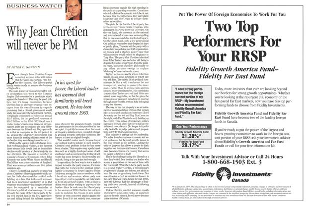 Article Preview: Why Jean Chrétien will never be PM, FEBRUARY  1993 | Maclean's