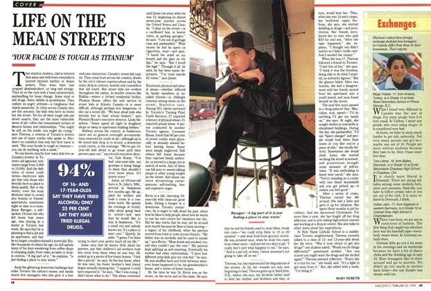 Article Preview: LIFE ON THE MEAN STREETS, FEBRUARY  1993 | Maclean's