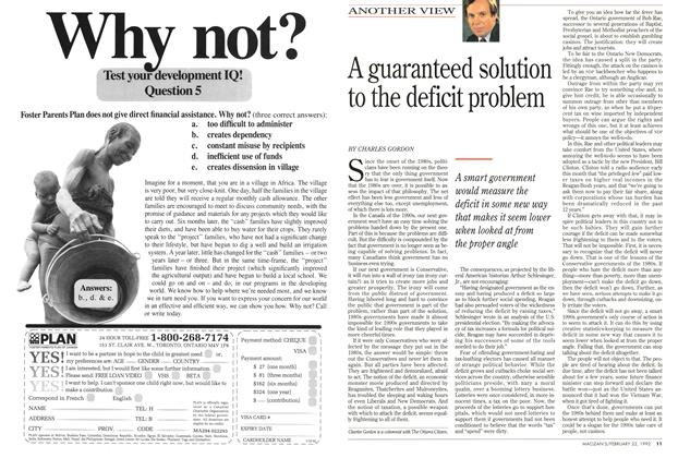 Article Preview: A guaranteed solution to the deficit problem, FEBRUARY  1993 | Maclean's