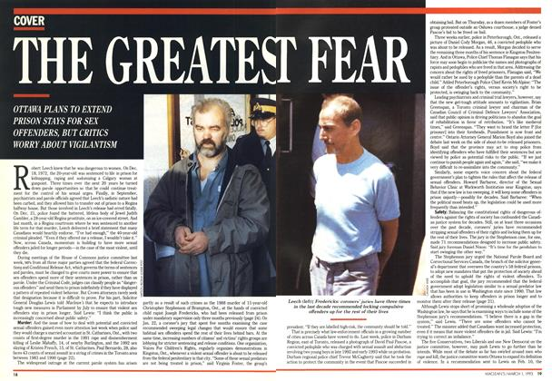 Article Preview: THE GREATEST FEAR, March 1993 | Maclean's