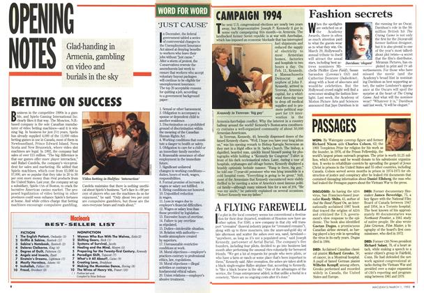 Article Preview: PASSAGES, March 1993 | Maclean's