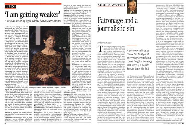 Article Preview: Patronage and a journalistic sin, March 1993 | Maclean's