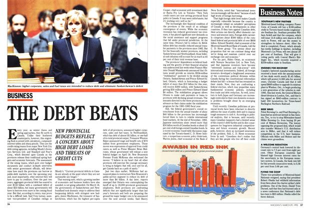 Article Preview: THE DEBT BEATS, March 1993 | Maclean's