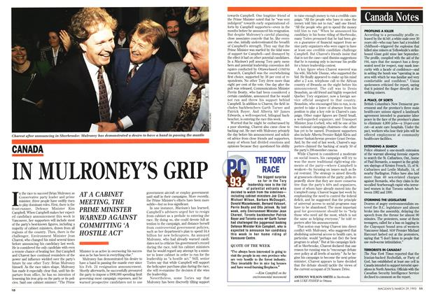 Article Preview: IN MULRONEY'S GRIP, March 1993 | Maclean's