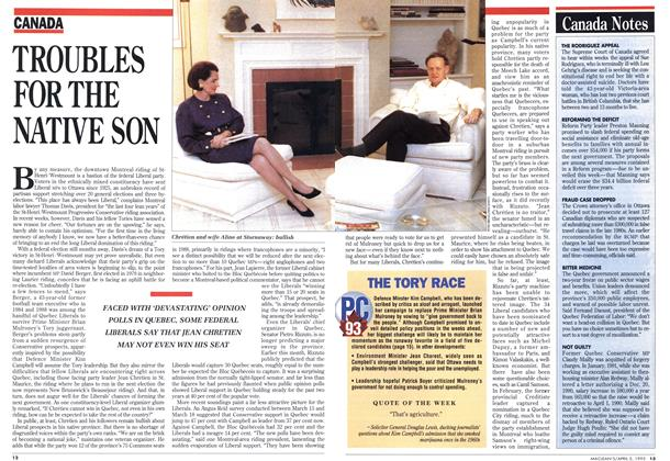 Article Preview: TROUBLES FOR THE NATIVE SON, April 1993 | Maclean's