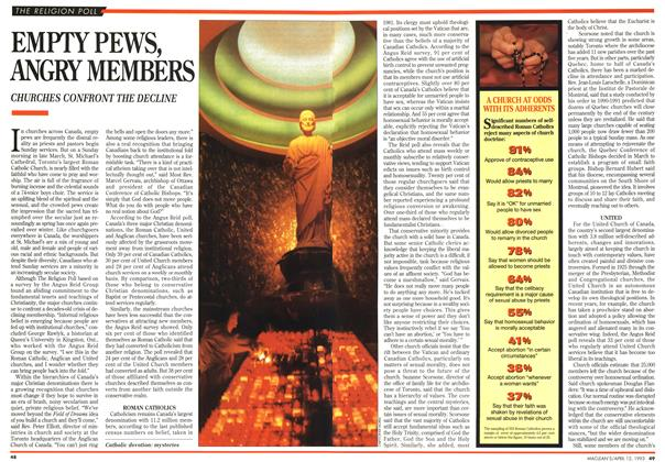 Article Preview: EMPTY PEWS, ANGRY MEMBERS, April 1993 | Maclean's