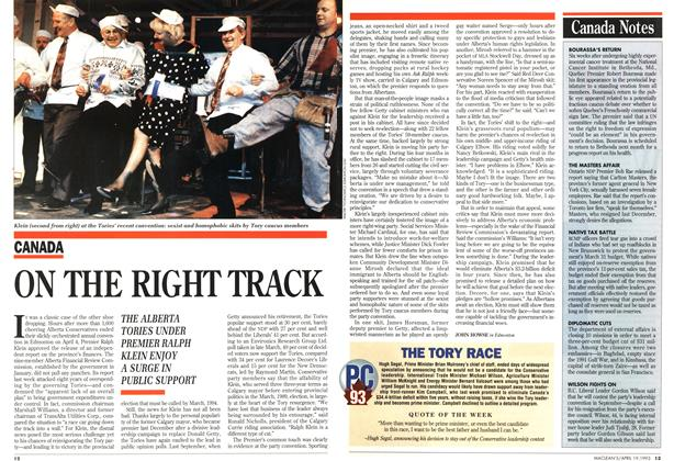 Article Preview: ON THE RIGHT TRACK, April 1993 | Maclean's