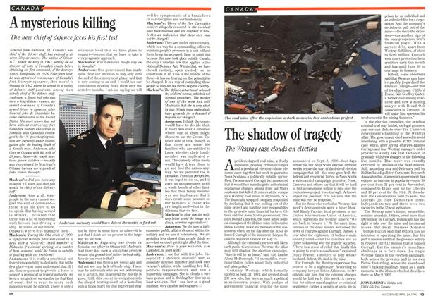 Article Preview: The shadow of tragedy, April 1993 | Maclean's