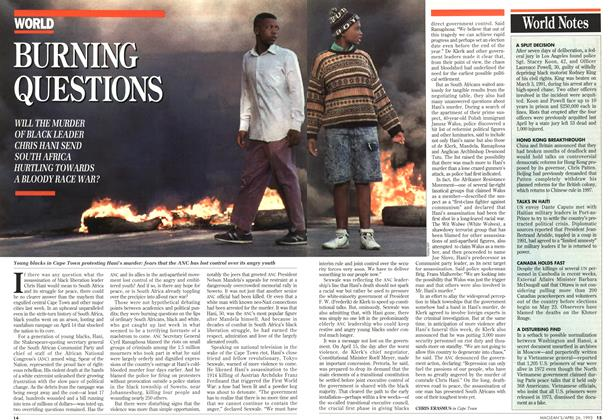 Article Preview: BURNING QUESTIONS, April 1993 | Maclean's