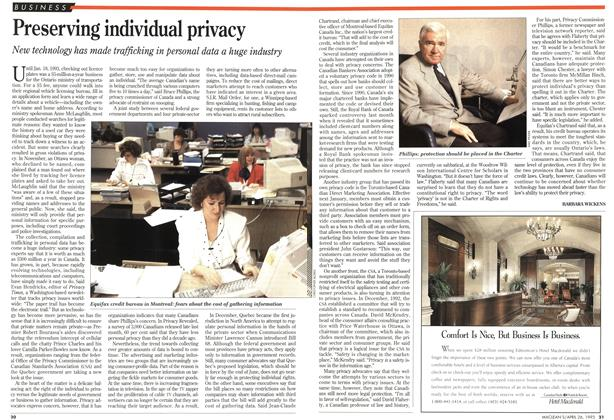 Article Preview: Preserving individual privacy, April 1993 | Maclean's