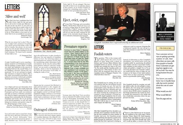 Article Preview: LETTERS, April 1993 | Maclean's