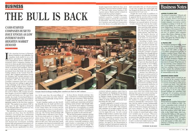 Article Preview: THE BULL IS BACK, May 1993 | Maclean's