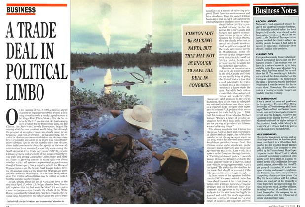 Article Preview: A TRADE DEAL IN POLITICAL LIMBO, May 1993 | Maclean's
