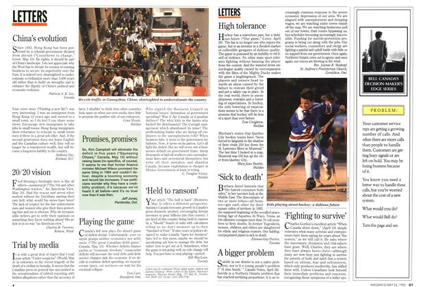 Article Preview: LETTERS, May 1993   Maclean's