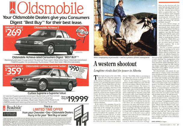 Article Preview: A western shootout, May 1993 | Maclean's