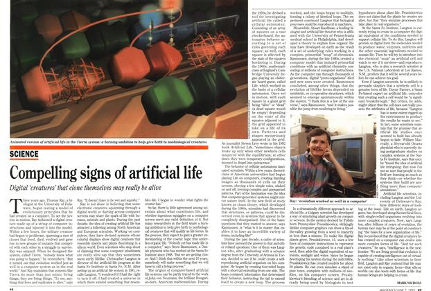Article Preview: Compelling signs of artificial life, June 1993 | Maclean's