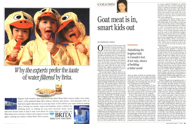 Article Preview: Goat meat is in, smart kids out, June 1993 | Maclean's
