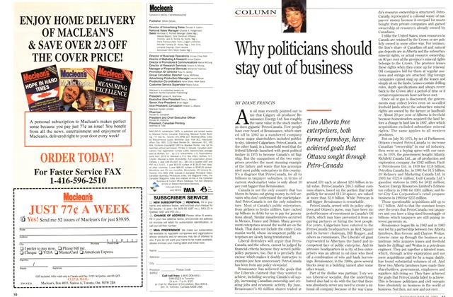 Article Preview: Why politicians should stay out of business, June 1993 | Maclean's