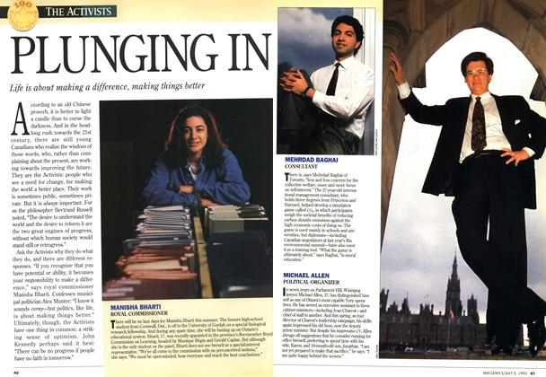 Article Preview: PLUNGING IN, July 1993 | Maclean's