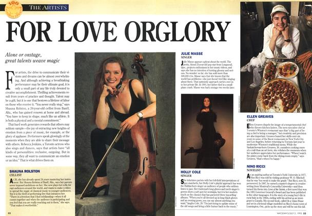 Article Preview: FOR LOVE OR GLORY, July 1993 | Maclean's