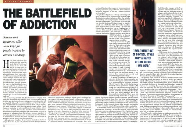 Article Preview: THE BATTLEFIELD OF ADDICTION, July 1993 | Maclean's